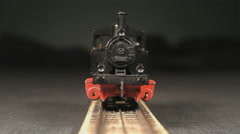 Train is driving backwards on a track out of focus - stock footage