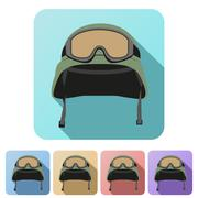 Stock Illustration of Set Flat icons of green military helmet with goggles