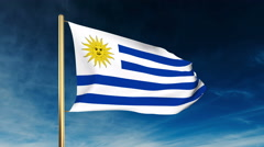 Uruguay flag slider style. Waving in the win with cloud background animation Stock Footage