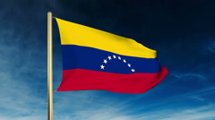Venezuela flag slider style. Waving in the win with cloud background animation Stock Footage