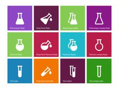 Chemical laboratory flask icons on color background - stock illustration