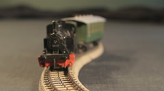 Locomotive with wagons is Zigzagging into the camera Stock Footage