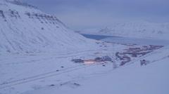 Landscape of Longyearbyen in svalbard Stock Footage