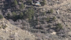 A supply Helicopter taking off in mountains Stock Footage
