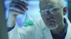 Scientist Works in Chemical Laboratory. Close-up - stock footage
