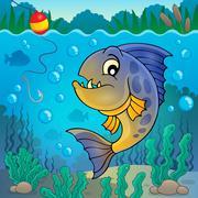 Piranha fish underwater theme - eps10 vector illustration. Stock Illustration