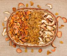 dried fruits in a basket - stock photo