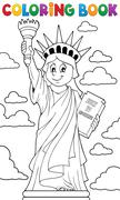 Coloring book Statue of Liberty theme - eps10 vector illustration. Stock Illustration
