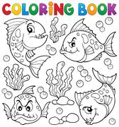 Coloring book piranha fishes theme - eps10 vector illustration. Stock Illustration