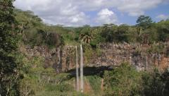Scenic view to the beautiful Chamarel waterfall, Mauritius. Stock Footage