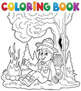 Coloring book scout boy theme - eps10 vector illustration. Piirros