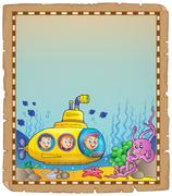 Parchment with underwater theme - eps10 vector illustration. Piirros