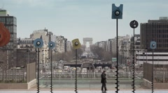 Esplanade de La Defense with arc de Triomphe, Paris - 60fps Stock Footage