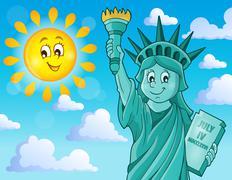 Statue of Liberty theme image - eps10 vector illustration. - stock illustration