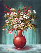 Bouquet Of Flowers in a Clay Vase - stock illustration