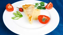 Food : cheese casserole piece Stock Footage