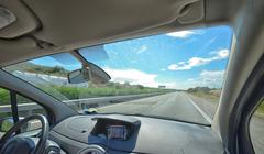 Motorway from inside the car - stock photo