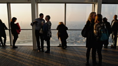 People on Platform with the view from the shard Stock Footage