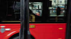Colorful woman in London at traffic lights Stock Footage