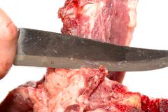 Meat cutting knife Stock Photos