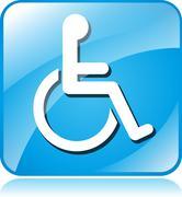 wheelchair blue square icon - stock illustration