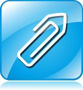paper clip blue square icon - stock illustration