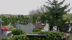 Panorama of cemetery - Poland Stock Footage