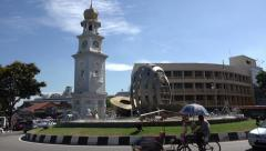 Queen Victoria Memorial Clock Tower, George Town, Penang, Malaysia Stock Footage