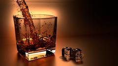 whiskey ice - stock illustration