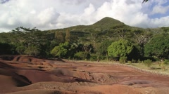 People enjoy the view to the Chamarel Seven Colored Earths, Mauritius. Stock Footage