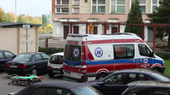 Ambulance with a trolley bed outside ready for rescue action 2 Stock Footage