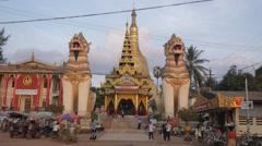 Entrance of Shwemawdaw Paya,Bago,Burma Stock Footage