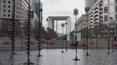 Esplanade de La Defense district in Paris, France - 1080p Stock Footage