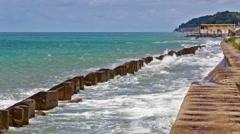 Black Sea coast breakwater Stock Footage