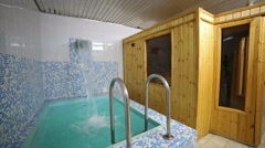 Swimming pool, clean water, interior, relaxing blue, sauna - stock footage