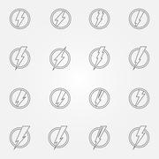 Lightning icons or emblems Stock Illustration