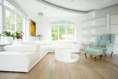 Bright interior of contemporary living room Stock Photos