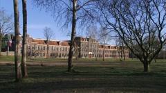 Exterior Akoesticum - long shot + pan former military barracks Stock Footage