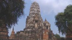 Wat Rachaburana at the Ayutthaya Historical Park in Thailand Stock Footage