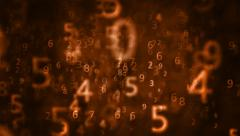 2K Orange Numbers, Abstract, digital, numbers background.  Stock Footage