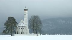 Church in foggy winter landscape Stock Footage