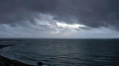 Dark sky sea waves moody calm atmospheric Stock Footage
