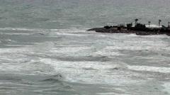 Stormy sea ocean waves breakers foam coastline Arkistovideo