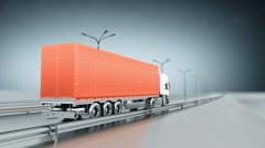 Orange cargo truck on a highway. Back view. Looping animation background. - stock footage