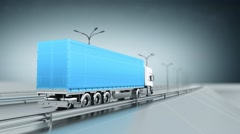 Blue cargo truck on a highway. Back view. Looping animation background. - stock footage