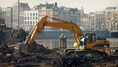 Excavator Working By City Harbor - stock footage