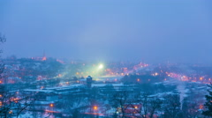 Winter night city, time-lapse Stock Footage