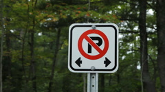 No parking sign. Forest background. Stock Footage