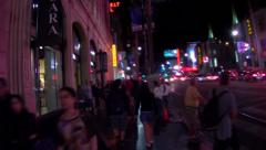 POV Walking With Tourists On Hollywood Blvd- Night- Los Angeles Stock Footage