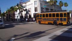 Rodeo Drive Intersection With Beverly Hills Trolley Bus Stock Footage
